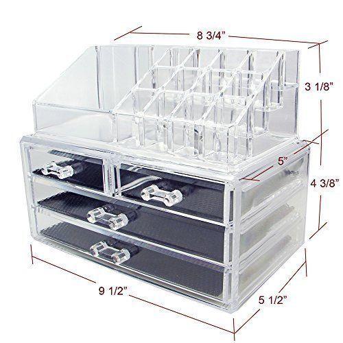 Caso de Acrílico para Maquillaje Organizador de Cosméticos Caja Cajón de Almacenamiento Soporte de exhibición 2 piezas