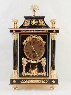 French Style Seiko Mantle Clock - Black Marble