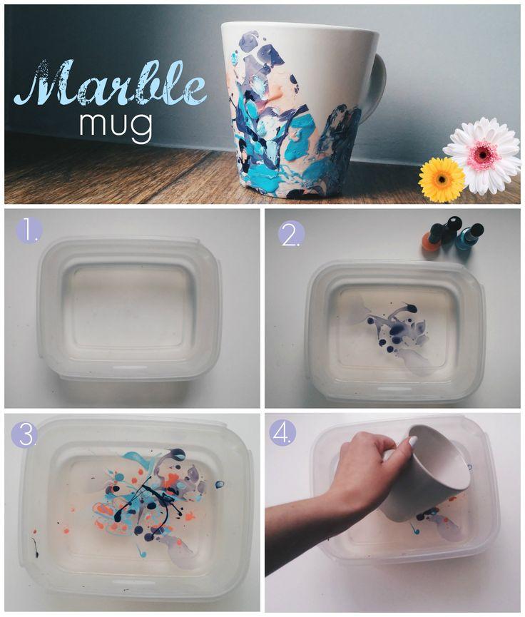 DIY marble mug! Quick and easy! #DIY #mug #marble #summer #easy #nailpolish