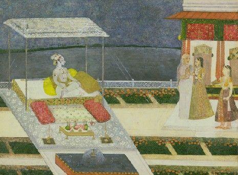 UEA 763 Radha escorted to the waiting Krishna c. 1740 - 50 India Rajasthan, Kishangarh School Acquired 1980