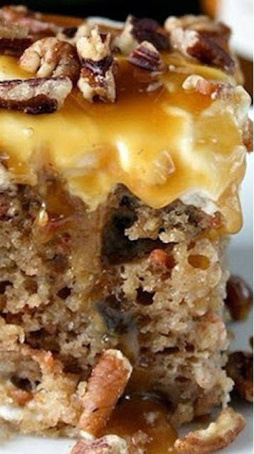 Sea Salt Caramel Carrot Cake Poke Cake- I'd substitute most of the ingredients, but it's a good inspirational start