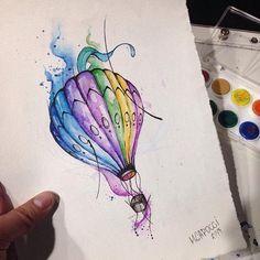 Desenho exclusivo e disponível. Quer ele na sua pele? É só falar com o pai da criança @mcapocci  #tattoaria #sp #balao #art #watercolortattoo #watercolor #ink #inked #tatuagem #tattoo #aquarela #aquarelatattoo