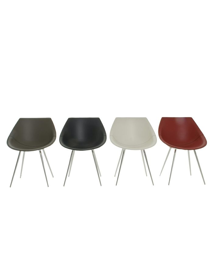 Lagò by Philippe Starck Easychair Stiff polyurethane shell and anodized aluminum legs, with fixed leather cover in white, black, red and olive green.
