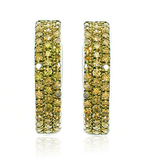 0.5ct Yellow Diamond Hugger Hoop Earrings 10K Solid White Gold #gemdepot #Hoop #BlackFridaysDeals