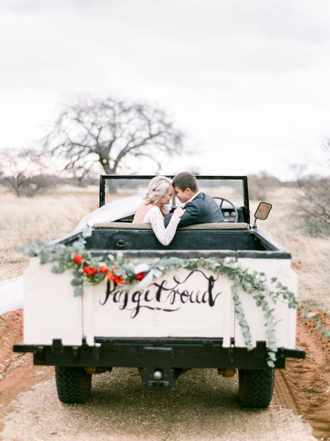 Sweet getaway Jeep: http://www.stylemepretty.com/2015/11/03/rustic-chic-south-african-wedding/ | Photography: Rensche Mari - http://www.renschemari.com/