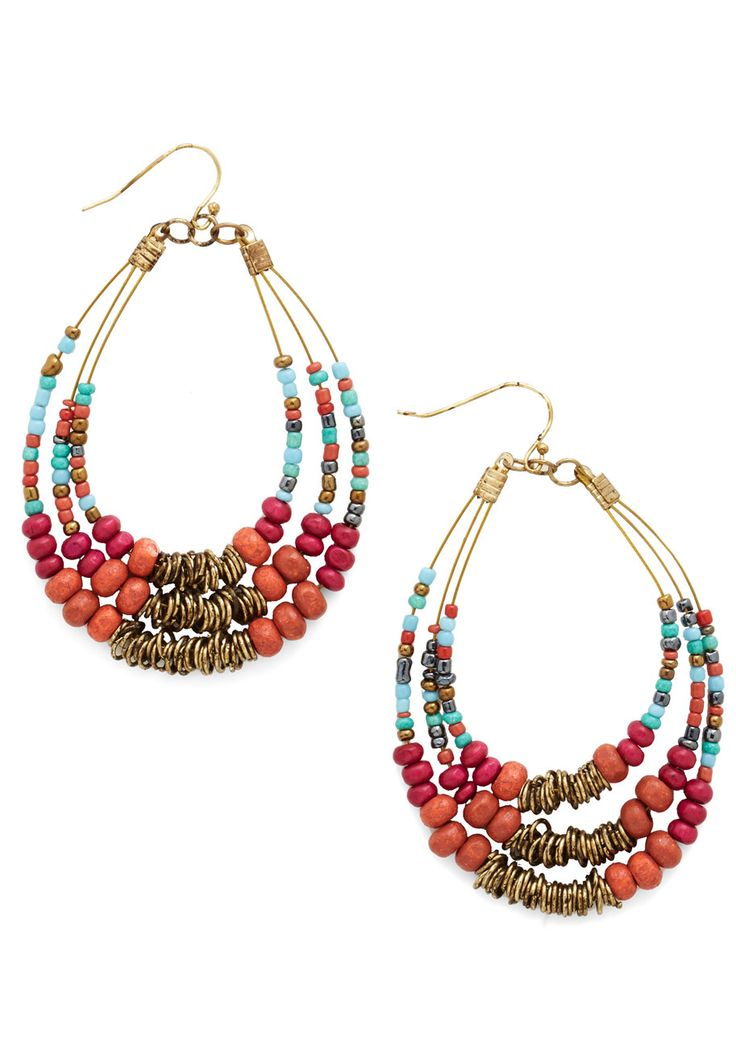 Festive is Yet to Come Earrings. The decorations are up and the crowd has started to arrive, but the party doesnt really begin until you stride through the door with these beaded earrings in your lobes! #multi #modcloth