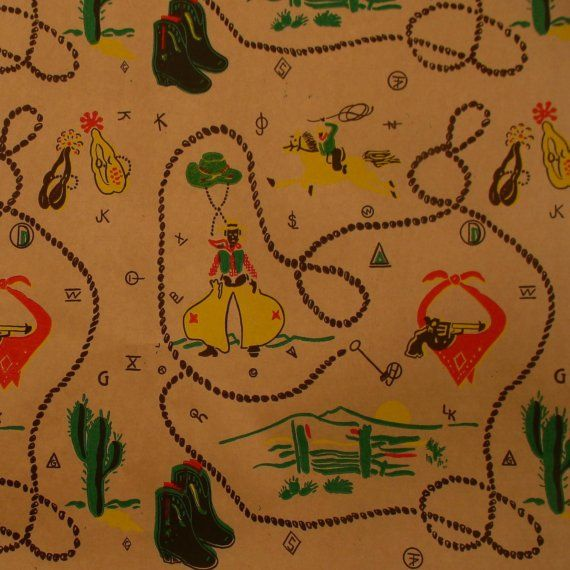 #Vintage Western Gift Wrapping Paper Cowboy Horse