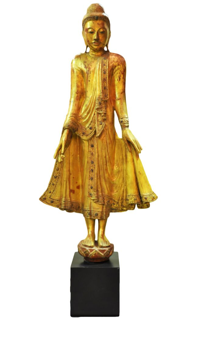 Golden leaf and glass wooden standing Buddha (red inside). Myanmar (Mandalay), early 19th century, made of wood, gold leaf and coloured glass. For more information about this and other amazing Asian/Buddhist antique products, please visit our website: www.sat-nam-art.com