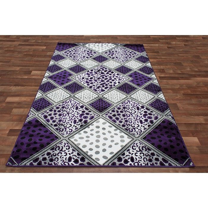 Navy Leopard Print Rug: Leopard Skin Square Patches Area Rug Purple Lavender Black