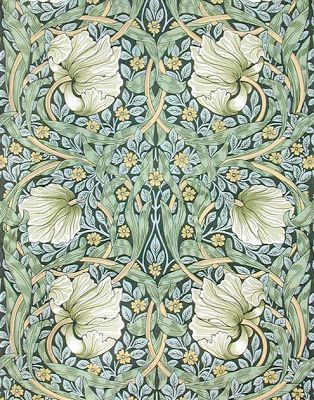 William Morris wallpaper, Pimpernel, 1860s.  William Morris designs were part of the Arts and Crafts style (1880 to 1910).  Morris was close friends with pre-Raphaelite artists artists Edward Burne-Jones and Dante Gabriel Rossetti.  I love the colours, and you can see the connection with pre-Raphaelite art.