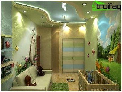 Kombinácia úsek stropu a strop zo sadrokartónu v detskej izbe