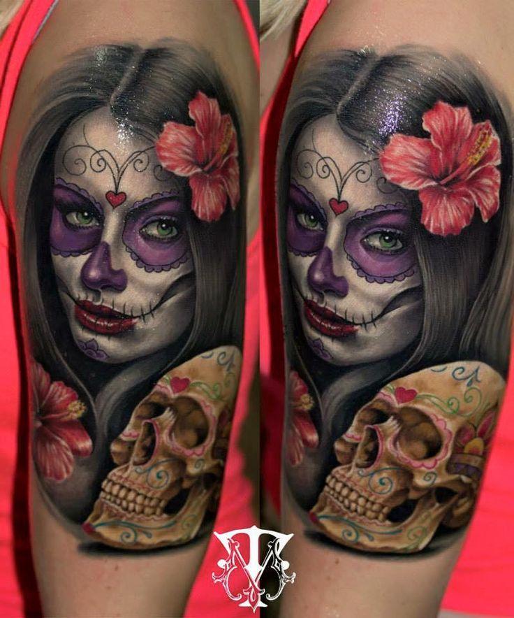 551 best sugar skull tattoos images on pinterest la catrina skulls and sugar skulls - Santa muerte tatouage signification ...
