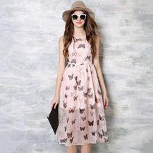 Новый 2016 Европейская Мода Бабочка Шаблон Печати Рукавов Элегантный Тонкий Шифон Длинное Платье Женщины Летние Повседневные Платья(China (Mainland))