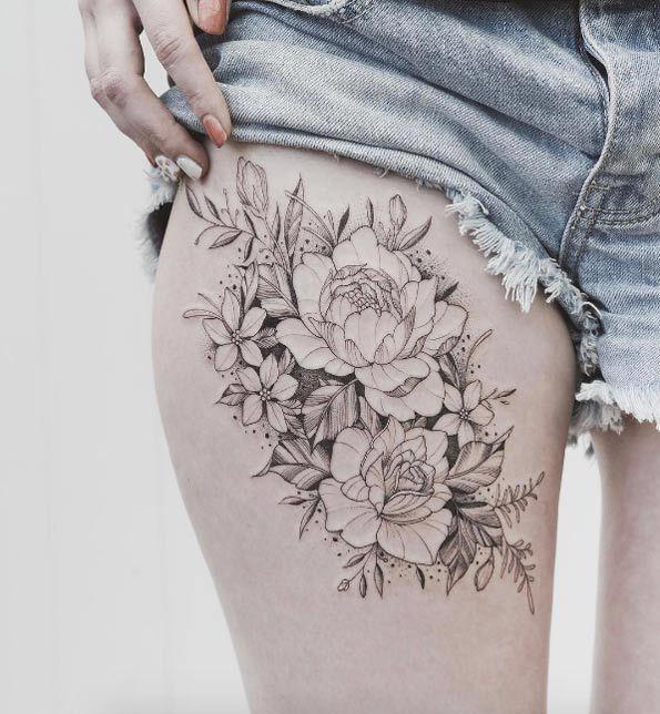 1000 ideen zu blumen oberschenkel tattoos auf pinterest oberschenkel t towierungen. Black Bedroom Furniture Sets. Home Design Ideas