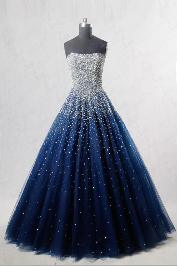 Blue sweetheart sequin tulle long prom dress, blue evening dress, Customized service and Rush order are available