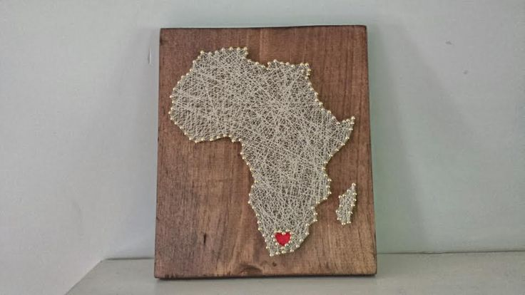 South Africa string art. perfect gift for the traveler, bride/groom, etc. Pieces are made to order and come in shape or country, state, island, image, etc. as requested. wedding gift, shower gift, birthday, anniversary gift.