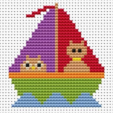Sew Simple Owl & Passy Cat cross stitch kit from Fat Cat Cross Stitch Finished size approx 7.6cm x 8.3cm. Kit contains 11ct white aida fabric, stranded embroidery cotton, needle, colour chart and instructions. A brand new kit will be sent directly to you by Fat Cat Cross Stitch - usually within 2-4 working days © Fat Cat Cross Stitch