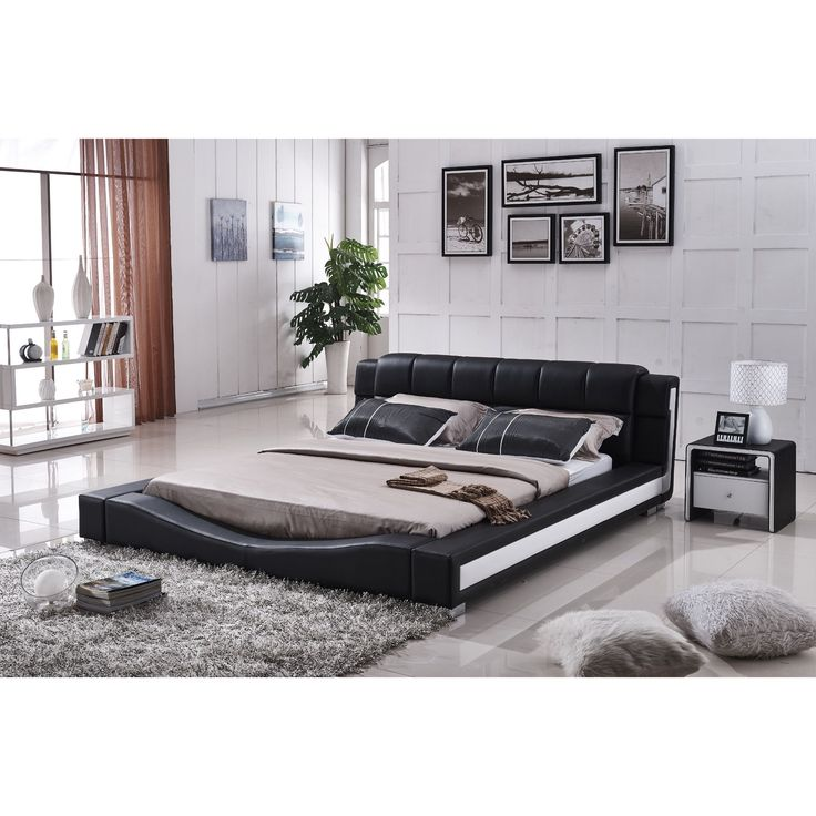 Us Pride Furniture Liam Black And White Faux Leather Contemporary Platform Bed Queen