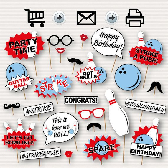 Bowling Party Printable Photo Booth Props Bowling por SurpriseINC
