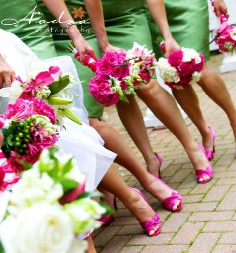 green with pink shoes