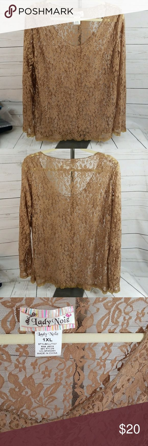 Lady Noiz lace top Sheer cocoa brown lace long sleeve top. Flirty and feminine. Perfect over a black cami. NWOT. This is a 1X Long. Lady Noiz Tops Tees - Long Sleeve