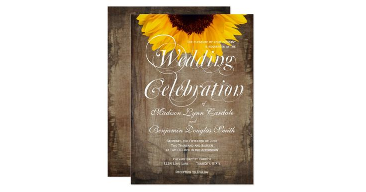 """The """"Wedding Celebration"""" wording cannot be changed. (contact me if you need a different color).  The brown background has a distressed old antique look.  Choose from square or rounded corners.  These country style wedding announcements are great for barn weddings, country weddings, and anyone looking for an elegant rustic invite or brides who will be using sunflowers in the bouquets or wedding centerpieces.   The wedding invitation wording is white.                  sunflower wed..."""