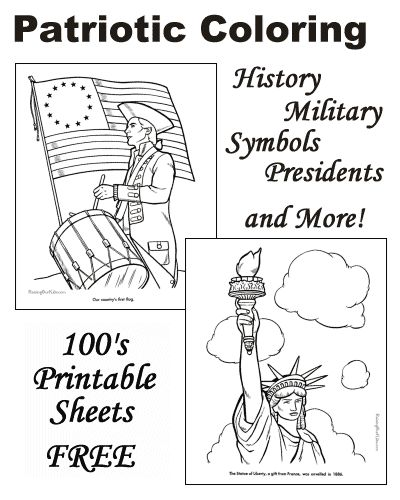 Patriotic Coloring Pages - American history for kids, US flags, Statue of Liberty, all US Presidents and more!