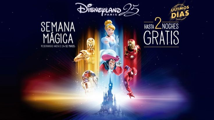 """Últimos días de campaña """"Semana Mágica Disney"""" en la que el usuario se puede beneficiar hasta 2 noches gratis en el alojamiento.  #Viajes ✏  #DisneylandParis #Atrapalo https://vdg.fun/3H"""