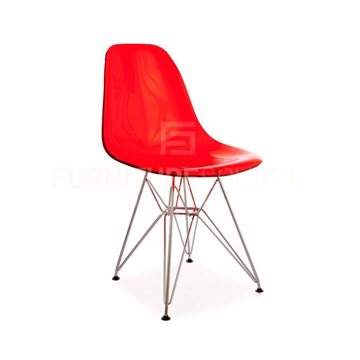 Ghost Molded ACRYLIC Eiffel Base DSR Mid Century Modern Side Chair Eames  Style   Red