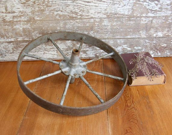 Vintage Iron Wagon Wheel primitive rusty by TheHeirloomShoppe