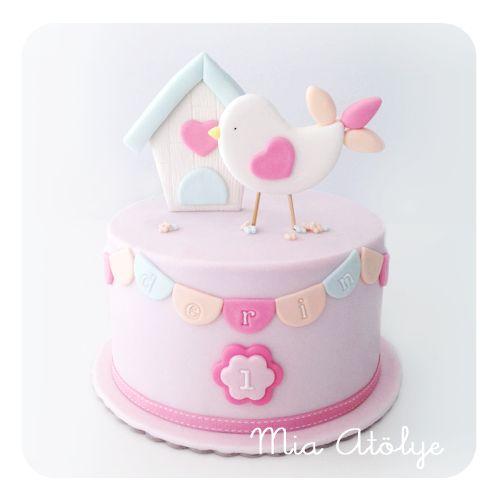 1st birthday bird cake