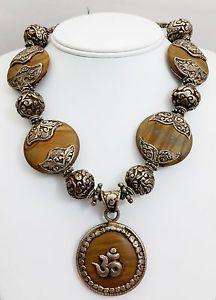 Tibetan Buddhist Om Pendant Necklace w/ Petrified Wood & Sterling Silver Beads  | eBay