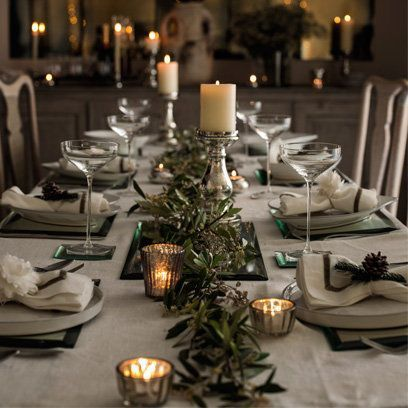 Gray green Christmas table The White Company -it really doesn't have to be red.