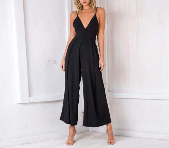 Nadafair Sleeveless Deep V Neck Backless Bow Sexy Jumpsuit Women Wide Leg Pants Casual Rompers Loose Overalls