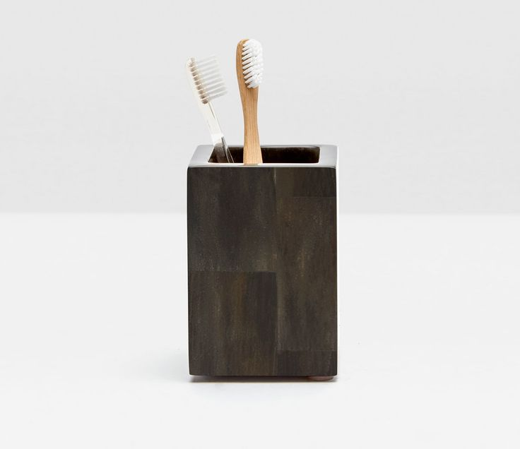 Pigeon & Poodle Arles Brush Holder in Dark Faux Horn - ON BACKORDER UNTIL DECEMBER 2017 from The Well Appointed House