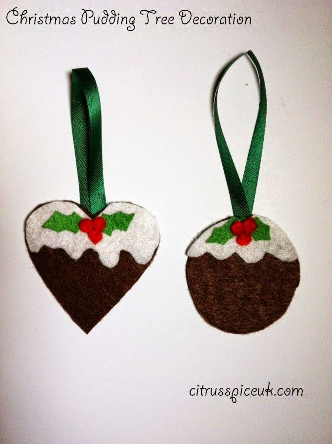 Citrus Spice and all things nice...: Christmas Pudding shape Felt Tree Decorations http://www.citrusspiceuk.com/2014/12/christmas-pudding-shape-felt-tree.html#.VJaaRAMDA