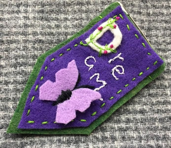 lavender and purple butterfly embroidered Dream prayer flag pin.