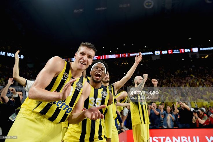 Bogdan Bogdanovic, #13 of Fenerbahce Istanbul iand Bobby Dixon, #35 of Fenerbahce Istanbul celebrates just before the end of Championship Game 2017 Turkish Airlines EuroLeague Final Four between Fenerbahce Istanbul v Olympiacos Piraeus at Sinan Erdem Dome on May 21, 2017 in Istanbul, Turkey.