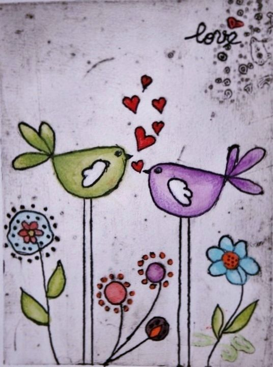 Lygia Dantas - Perth Artist Love Is…  Limited Edition Print Original Collagraph & Watercolour