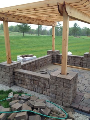 Great Add Retaining Wall To Further Define Space And To Add Extra Seating. DIY  Pergola Patio