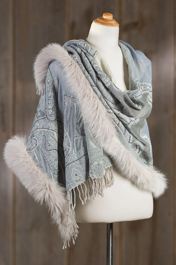 """multicolored embroidered Iris wool shawl  Generously edged in Canadian blue fox fur; Approximately 27""""W x 35""""L. 100% Wool. Imported."""
