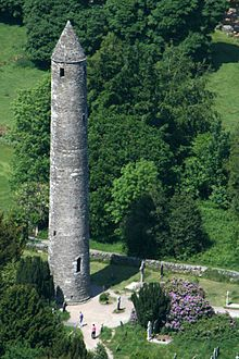 The round tower at Glendalough, Ireland, is approximately thirty metres tall