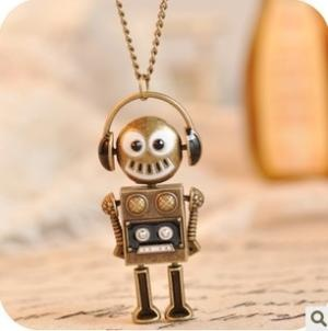 Vintage Robot Long Chain Pendant Necklace at Online Jewelry Store Gofavor: Necklaces Sweaters, Music Headset, Pendants Necklaces, Robots Chains, Fashion Jewelry, Chains Necklaces, Robots Necklaces, Cosplay Wigs, Headset Robots