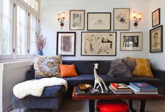 salon art wall... House of Honey {eclectic mid-century vintage modern living room}