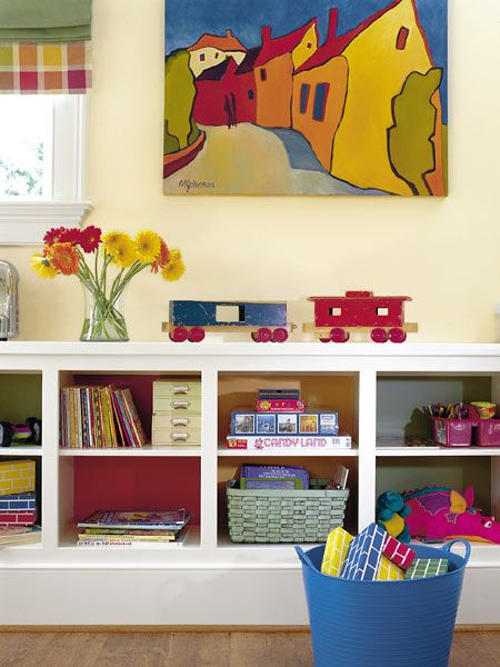 Love the white shelving.: Playrooms Kid S Spaces, Colorful Cubbies, Bonus Room, Playroom Shelves