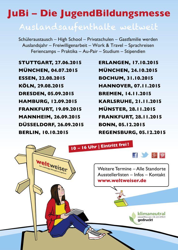 JuBi - Die JugendBildungsmesse zu Auslandsaufenthalten weltweit - #Schüleraustausch, Au-Pair, Work & Travel, Freiwilligenarbeit & Co.  Deutschlandweit u.a. in #Köln, #Hamburg, #Frankfurt, #Berlin, #Düsseldorf, #München, #Hannover