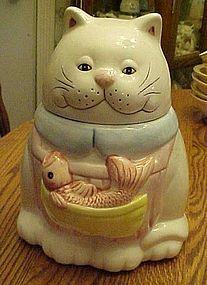 """$ 20.00 Симпатичные керамические whitecat куков без опознавательных знаков. Котенок в фартуке и он имеет большую рыбу, сделана из керамики. Меры 10 """"высокий Белые керамические кошка с рыбой в фартук куков"""