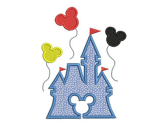 Castle embroidery design - Disney embroidery design - Mickey mouse applique design - Baby embroidery