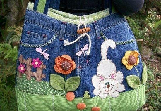 Várias Bolsas  Artesanal Feitas com Calças Jeans
