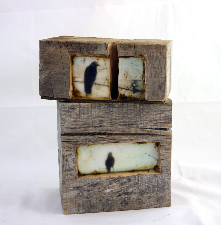 Hiding places - The morning crow - original encaustic mixed media carved in reclaimed barn wood